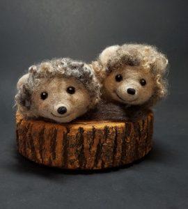 needle felted hedgehogs