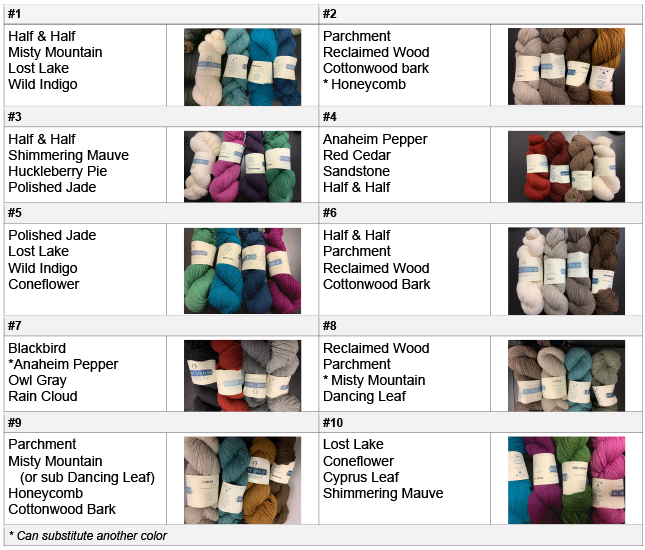 Mystery Quilt Color Options 2020
