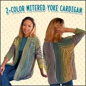 2-Color Mitered Yoke Cardigan